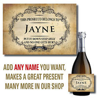 PERSONALISED PROSECCO WINE BOTTLE LABEL BIRTHDAY VINTAGE CHABBY CHRISTMAS B33