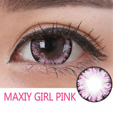 2 Maxiy Girl Kontaktlinse Contact Lenses farbig color PINK Fasching Party Makeup