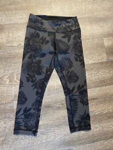 EUC Lululemon Woman's Black And Grey Floral Crop Capri Pants Size 4