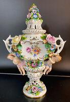 Antique Sitzendorf Dresden Figural Cherub & Applied Flowers Potpourri Vase/Urn