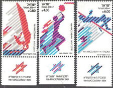 Israel 1981 Maccabiah Games Wind Surfing Basketball with Tabs MNH (SC# 779-781)