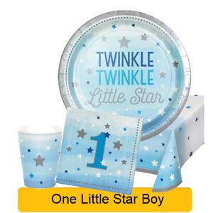Age 1/1st Birthday ONE LITTLE STAR BOY Party Range - Tableware & Decorations{1C}