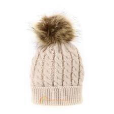 Winter Warm Frauen Baby Häkeln Cap Waschbär Pelz Beanie Bobble Wolle Strickmütze
