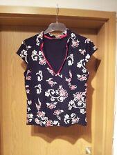 Damen Shirt Gr.42 schwarz mit Blumenmuster Zero