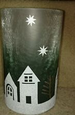 YANKEE CANDLE WINTER VILLAGE FROSTED CRACKLE GLASS JAR CANDLE HOLDER BRAND NEW