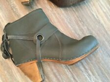 """SANITA Green Leather 3"""" High Wooden Heel Ankle Boots Booties EUR 38 / US 7-7.5"""