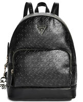 NEW GUESS Factory Women's Dulce Logo Embossed Large Black Backpack Handbag