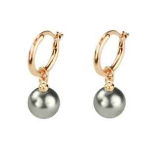 CLASSIC Vintage Style Dangle Dark Grey Pearl Rose Gold Plated Drop Earrings