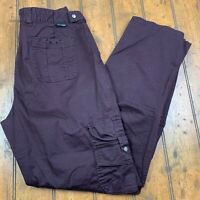 Columbia Womens 10 Cargo Pants Burgundy Purple Stretch Flat Front Roll Up Hems
