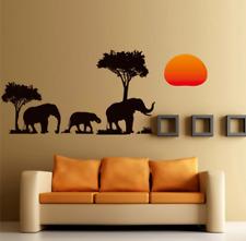 Africa Albero Adesivo Parete Elefante SUNSET SALOTTO Art Decalcomania Murale UK 5F5