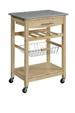 "Kitchen Utility Rack Granite Top w/ Wine Rack Natural (33.88"" x 22.8"" x 15.63"")"