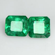 1.66 Cts Natural Green Emerald 5x5 mm Emerald Cut Pair Untreated Zambia Video $