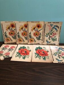 Vintage Meyercord Decals • Flowers 8 Lot Poppies Golden Daisy Rose Garden