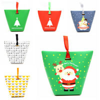 2/5/10 Christmas Paper Gift Bag Xmas Candy Carrier Present Boxes Without Ribbon
