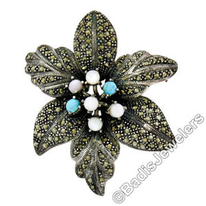 Sterling Silver Turquoise Moonstone Mother of Pearl Marcasite Flower Brooch Pin
