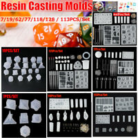 7/128Pcs DIY Crystal Epoxy Mold Dice Fillet Shape Digital Game Silicone Mould