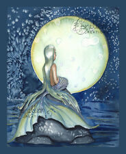 MIDNIGHT COLORS Mermaid Print from Original Painting By Grimshaw beach sea moon