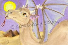 Demon Camel pyramids EBSQ Kim Loberg Post Card Art fantasy Wildlife Desert moon