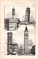 1880 Estampado Campanile Inclinada Torre Piza Florence Venecia