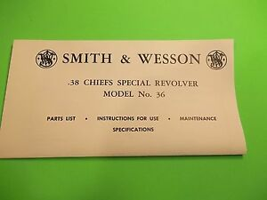 SMITH & WESSON MODEL NO. 36 REVOLVER MANUAL .38 CAL. CHIEFS SPECIAL