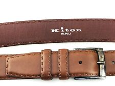 "KITON Mens Belt 42"" Brown Leather STERLING SILVER .925 Size 105cm HAND STITCHED"