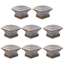 8 Outdoor 4X4 Garden Solar Copper Post Deck Cap Square Fence Light Plastic LED