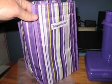 TUPPERWARE LUNCH SET PURPLE STRIPED INSULATED LUNCH BAG SANDWICH KEEPER TUMBLER