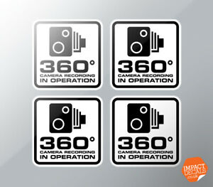 360 degree camera recording stickers 4 x 55mm / Car Body Decals