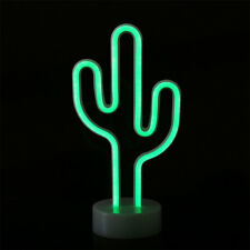 Marquee LED Night Light Portable Bedroom Cactus Battery Wall Lamp Home Decor