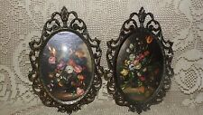 VINTAGE ITALY FLORAL BOUQUET PICTURES SET CONVEX GLASS GOLD ORNATE METAL FRAMES