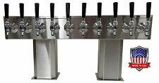 Stainless Steel Draft Beer Tower Made in Usa 10 Faucet Air Cooled - Ptb-10Ss-Op