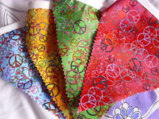 GREEN BLUE YELLOW RED PEACE HIPPIE FESTIVAL BUNTING FABRIC APPROX 3 3/4 metres