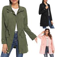 Women's Plain Zip Up Long Top Jacket Ladies Causal Cardigan Coat Leisure Outwear