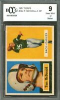 1957 topps #124 TOM MCDONALD philadelphia eagles rookie card BGS BCCG 9