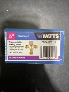 """Watts Lead Free Thermostatic Mixing Valve 1/2"""" LFMMVM1-UT NEW 3/8 OD Tube Fit"""