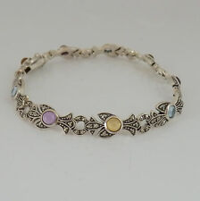 422.Armband mit Markasit , Multicolor Armband Cabochon  925 Silber  19,5 cm