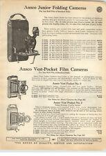 1923 PAPER AD 2 Sided Ansco Vest Pocket Folding Camera #3 #3A #0 #2