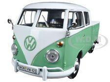 VOLKSWAGEN TYPE 2 (T1) DOUBLE CAB PICKUP TRUCK WHITE/GREEN 1:24 MOTORMAX 79343