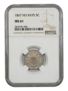 1867 5c NGC MS61 (No Rays) Shield Nickel