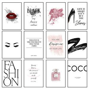 Fashion Prints Beauty Modern Posters Stylish Chick Elegance  Wall Art Lady Girls