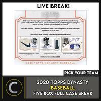 2020 TOPPS DYNASTY BASEBALL 5 BOX (FULL CASE) BREAK #A1034 - PICK YOUR TEAM