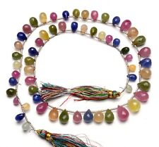 """Natural Gem Multi Sapphire 7x5 to 11x8MM Faceted Teardrop Briolette Beads 17.5"""""""
