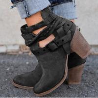 Women's Metal Buckle Belt Shoes Martin Ankle Boots Vintage High Heel Anti-Skid