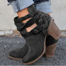 Women's Metal Buckle Belt Shoes Martin Ankle Boots Vintage High Heel Anti-Skid