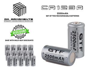 x2 CR123A TR16340 3.7V 2500mAh Rechargeable Li-ion Batteries Multi Buy Discounts