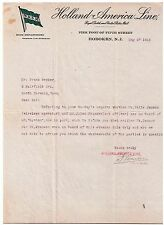 Holland America Line 1915 letter in response to inquiry on Company Letterhead