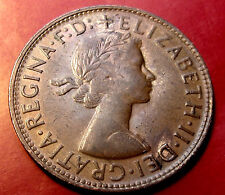 1962 Australia Penny, Elizabeth II,  Touches of Mint Orange, Great Details!