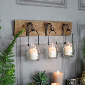 Tea Light Holder Candle Iron Hooks Wall Mount Rustic 3 Glass Lantern Wood Decor