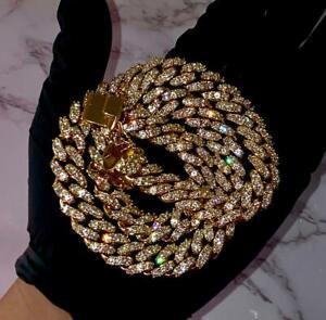 "14k Yellow Gold Over Cuban Link Mens Chain Round Cut Necklace VVS1 Diamonds 20"""