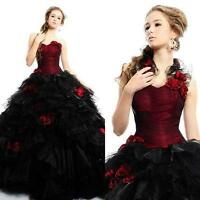 Victorian Ball Gown Wedding Dress Vintage Gothic Red and Black Quinceanera Gowns